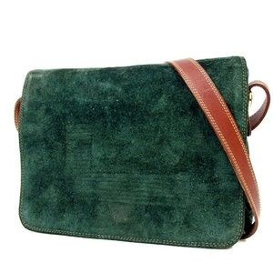 LANCEL green Suede brown leather gold Shoulder Bag